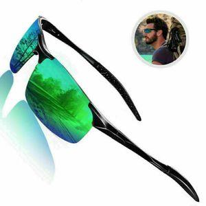 Aluminium polarisierte Sonnenbrille Fahren Angeln gespiegelte Schutzbrille Brille-dunkelgrün