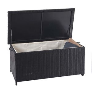 Poly-Rattan Kissenbox MCW-D88, Gartentruhe Auflagenbox Truhe  Premium schwarz, 51x115x59cm 250l