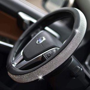Auto Leder Lenkrad Deckt Kristall Strass Auto Lenkrad Abdeckungen Protektoren Innen Zubehör Für Frauen Mädchen