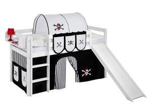 Lilokids Spielbett JELLE 90 x 190 cm Pirat Schwarz Weiß - Hochbett - weiß - mit Rutsche und Vorhang - Maße: 113 cm x 198 cm x 98 cm; JELLE3054KWR-PIRAT-SCHWARZ-S-190