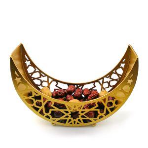 Ramadan Eisen Tablett Mondstern Geformt Eid Mubarak Geschenkbox Dessert Tablett Muslim Festival Tischdekor(Golden Moon)