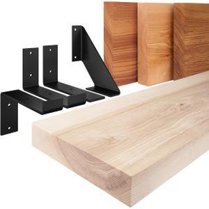 LAMO Manufaktur Wandregal Holz, Bücherregal, Hängeregal Industrial, Roh / Weiß 50cm, LWG-01-A-001-50JW