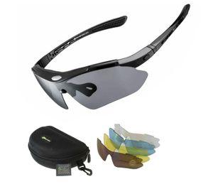 ROCKBROS Fahrradbrille Polarisiert Sportbrille SCHWARZ Sonnenbrille Brille UV400 + ETUI