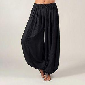 Frauen Plus Size Solid Color Casual Lose Haremshose Yogahose Frauenhose Größe:L,Farbe:Schwarz