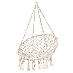 SVITA CARRIE Hängesessel mit Rahmen im Boho-Style zum Aufhängen für Indoor und Outdoor Naturmaterial Beige