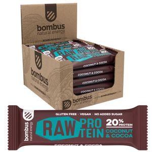 Bombus Veganer 20% Protein Riegel Choco Coconut 20 x 50g Glutenfrei Ohne Zuckerzusatz