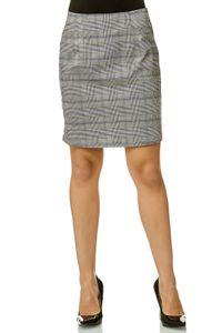 Damen Rock Glencheck Knielang Kariert Stretch Midi Skirt, Farben:Schwarz, Größe:42