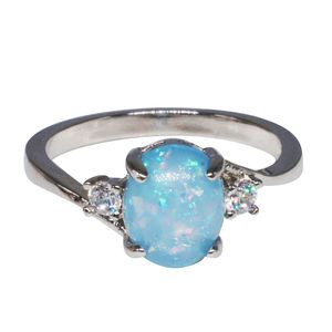 Exquisite Damen Sterling Silber Ring Oval Cut Feuer Opal Diamond Band Ringe