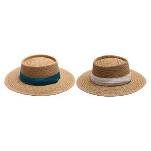 2PCS Frauen Stroh Panama Hut Sonnenhut Eimer Fedora Hut Kappe für Reisen Im Freien