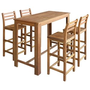 vidaXL Bartisch und Stuhl-Set 5-tlg. Akazienholz Massiv