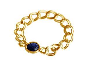 Damen Ring Vergoldet Saphir Blau Beweglich Geschmeidig