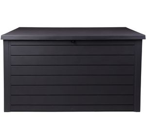 Ondis24 Kissenbox Sitztruhe Ontario XXL anthrazit 870 L Holz Optik mit Gasdruckfedern ca. 146 x 82 x 86 (H) cm