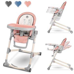 Lionelo Cora Hochstuhl Baby bis 15 kg höhenverstellbar regulierbare Rückenlehne doppeltes Tablett Rosa