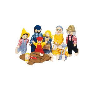 goki SO305 Biegepuppen Bauernfamilie II H= 7-14,5 cm, Holz, 8 Teile, mehrfarbig, 8-teilig (1 Set)