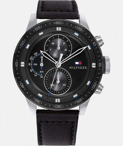 Tommy Hilfiger Herren Multi Zifferblatt Schwarz/Schwarz Leder Armbanduhr | 1791810