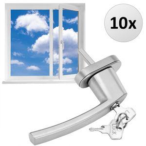 Fenstergriff abschließbar Sicherheitsfenstergriff weiß silber Kindersicherung, Farbe:10x silber