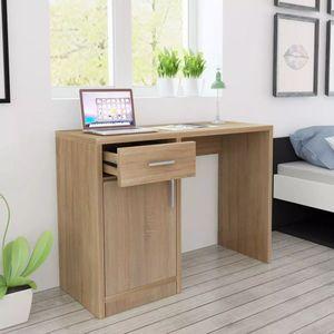 dereoir Schreibtisch mit Schublade und Schrank Eiche 100x40x73 cm