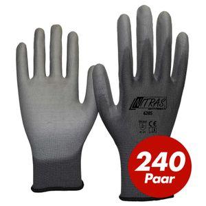 Nitras 6205 Nylon Strickhandschuh grau - VPE 240 Paar - mit PolyurethanBeschichtung auf Innenhand und Fingerkuppen Größe:10