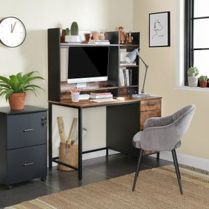 VASAGLE Schreibtisch mit Regalaufsatz   Computertisch Bürotisch mit Schrank und Schublade einfache Montage Industrie-Design vintage braun-schwarz LWD65X