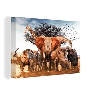 Leinwandbild - Tiere - Giraffe - Elefant - 30x20 cm - Foto auf Leinwand - Gemälde auf Holzrahmen