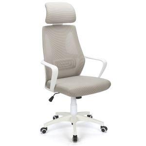 Futurefurniture® rotierender ergonomischer Bürostuhl mit hoher Rückenlehne aus Mesh mit Feste Armlehne und verstellbarem Bürostuhl mit Kopfstütze (Grau)