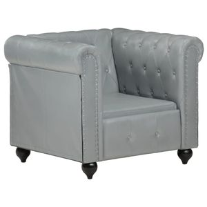Chesterfield-Sessel Grau Echtleder