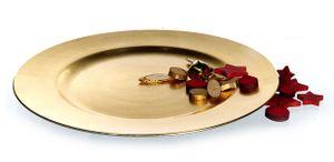Dekoteller gold ca. Ø 33cm Platzteller Kerzenteller Tischdekoration Tablett