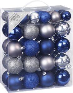 Weihnachtskugeln Mix Kunststoff, 50er Set, Farbe:True Blue blau