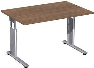 C-Fuß Flex Schreibtisch, gerade, höhenverstellbar, verschiedene Größen und Farben, Farbe:Nussbaum, Größe Tischplatte:120 x 80 cm
