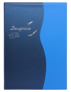Zeugnismappe/Zeugnisringbuch DIN A4 mit 10 Hüllen / Farbe: metallic blau