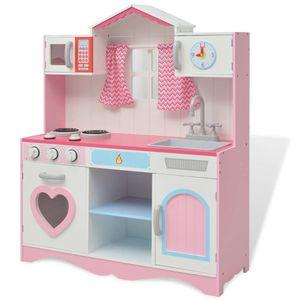 Spielzeugküche Holz 82×30×100 cm Rosa und Weiß