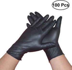 100 Stück PVC-Einweg-Handschuhe, puderfrei, für Hygiene, Lebensmittel, Schutzhandschuhe für Küche, Kochen, Reinigung Größe S Schwarz
