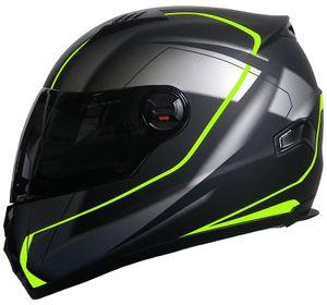Integralhelm 708 Motorradhelm Helm Gr. L Rollerhelm Sturzhelm schwarz neon grün getöntes Visier