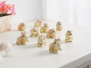 Mini-Hase Blumenkranz im 6er Set, Maße ca. Höhe 3 cm