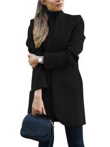 Damen Wollmantel Trench Jacke Damen Warmer langer Parka formeller Mantel,Farbe:Schwarz,Größe:L