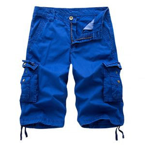 Herren Casual Pure Color Outdoors Tasche Strand Arbeitshose Cargo Shorts Hose Größe:XL,Farbe:Blau