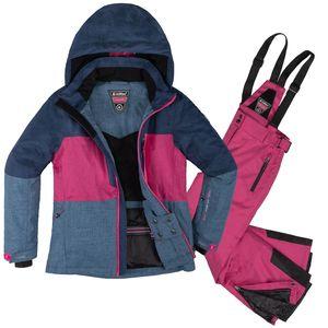 Skianzug Kinder 2 tlg. Skijacke + Skihose Gr. 152 - Gr. 152   denim/fuchsia