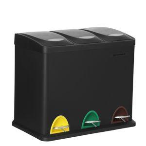 SONGMICS Mülleimer 24 Liter | 3-in-1 Abfalleimer | Mülltrennung Treteimer aus Metall robust Mülltrennsystem Stahl schwarz LTB24BK