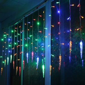 3.5m 96LED Eiszapfen Lichterkette Bunt Lichtervorhang Innen Außen Party Garten Weihnachten Deko