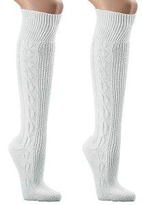 krautwear Herren Damen Trachtenstrümpfe Trachten Kniestrumpf Weiß (2x 43-46)