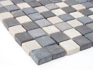Steinfliesen Vigo T690, Marmor Naturstein-Fliese Quadrate, 11 Stück je 30x30cm = 1qm  grau-weiß