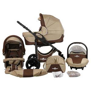 Bergsteiger Capri Kinderwagen, Farbe: coffee & brown / Gestell: anthrazit, 3-in-1 Kombikinderwagen, inkl. Babyschale, Babywanne, Sportwagen und Zubehör