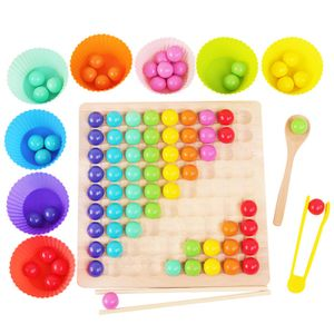 Holzspielzeug Holzpuzzle Brettspiel Clip Perlen Montessori Vorschule Spielzeug für Kinder, Lernspielzeug Matching-Spiel Geburtstag Geschenk für 3-6 Jahre