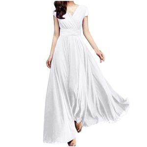 Einfarbiges kurzärmliges Chiffon-Taillen-Abendkleid für Frauen mit V-Ausschnitt Größe:XXL,Farbe:Weiß