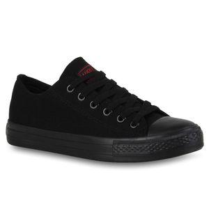 Mytrendshoe Herren Sneakers Sportschuhe Stoffschuhe Schnürer 94238, Farbe: Schwarz Schwarz, Größe: 43
