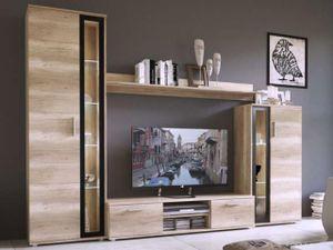 Mirjan24 Wohnwand Bentley, Mediawand mit TV-Lowboard, TV-Möbel (Farbe: Sonoma Eiche / Schwarz, ohne Beleuchtung)