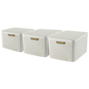 CURVER_3-er Set STYLE Box L mit Deckel creme_240656