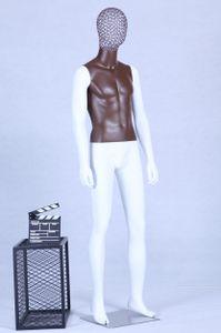 AB+98W Schaufensterpuppe weiß matt lackiert Brauner Brustkorb hochwertig Metallgitter Kopf mit Metallplatte Männlich Mann