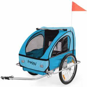 FROGGY Kinder Fahrradanhänger mit Federung + 5-Punkt Sicherheitsgurt Radschutz Anhänger für 1 bis 2 Kinder Design Sky