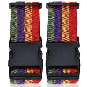 2x Koffergurt Gepäckgurt Kofferband Gepäckband Kofferriemen Reise Gepäck Urlaub, Farbe:Rot-Gelb-Blau-Grün